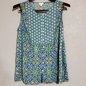 Blue & Green floral pattern top